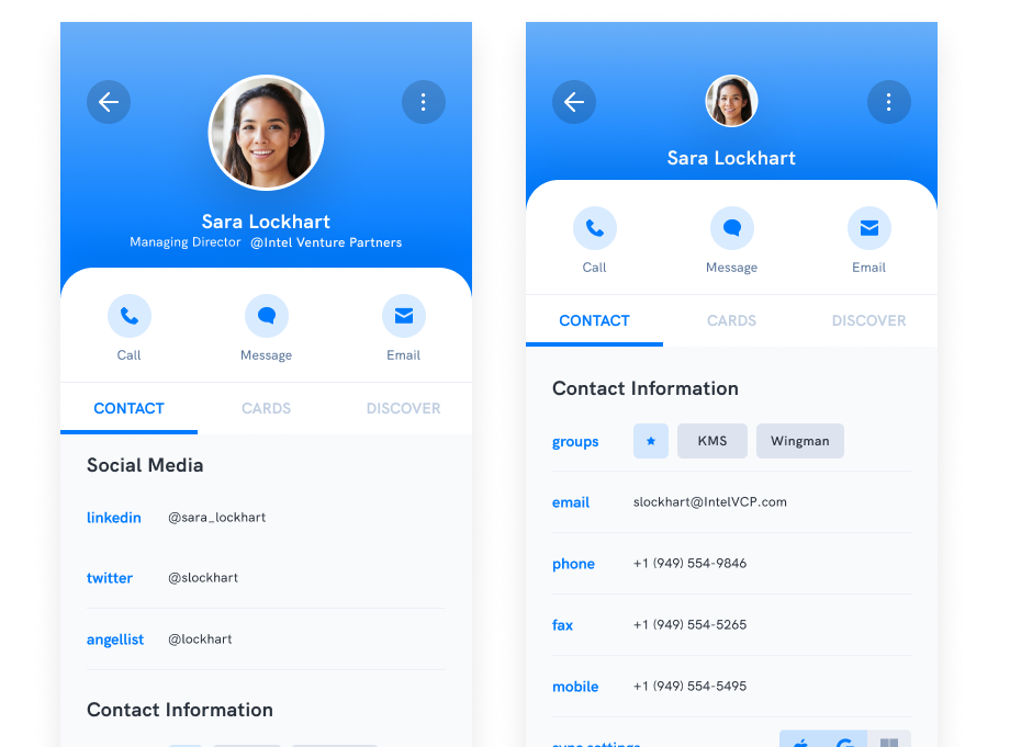 Release 1.8: Social Profile Notifications + Contact Detail UI